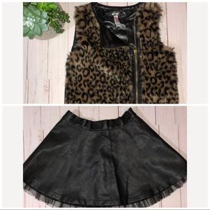 Faux Leather Skirt /Faux Fur Animal Print …